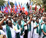 Farmers protesting against Karnataka government's dam schemes
