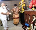 Chief Minister BS Yeddyurappa visited goddess Annamma Devi temple and performed pooja during the lockdown in the wake of the 2nd wave of COVID-19, in Bengaluru on Friday 7th May 2021.