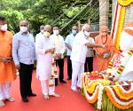 Chief Minister of Karnataka BS Yeddiyurappa with Home Minister Basavaraj Bommai and others paid floral tribute to Sri Basaveshwara statue on the occasion of Basaveshwara Jayanthi in Bengaluru.