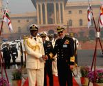 Chief of the Naval Staff Admiral D K Joshi receives his Nigerian counterpart at South Block lawn
