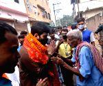 Congress' Luv Sinha during door-to-door campaign ahead of Biahr elections