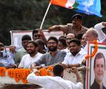 : Patna:Congress Leader Kanhaiya Kumar, Jignesh Mevani and Hardik Patel during a Road show