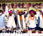 : Patna:Congress Leader Kanhaiya Kumar Jignesh Mevani and Hardik Patel after a press Conference at Party office