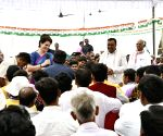 Amethi (UP): Priyanka Gandhi interacts with party workers