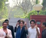 Delhi Polls 2020 - Priyanka Gandhi, Robert Vadra cast vote
