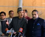 Ghulam Nabi Azad talks to the media at Parliament