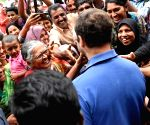 Rahul Gandhi interacts with Kerala flood victims