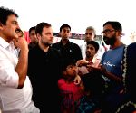 Rahul Gandhi visits relief camp at Kerala's Chundale