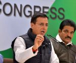 Randeep Surjewala and K C Venugopal during the press conference