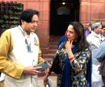 Budget Session - Shashi Tharoor, Hema Malini at Parliament