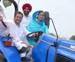 2019 Lok Sabha elections - Rahul Gandhi drives a tractor during poll campaign in Punjab
