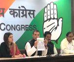 Rahul Gandhi and P Chidambaram at a press conference