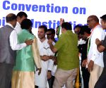 Rahul Gandhi at a public meeting in Telangana