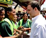 "Rahul Gandhi meets BBMP sanitation workers during ""Janashirvada Rally"