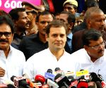 Rahul Gandhi talks to the media after meeting Karunanidhi