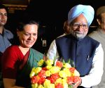 Congress President Sonia Gandhi and Prime Minister Manmohan Singh at the Congress Parliamentary Party meeting at Parliament House in New Delhi on Tuesday.
