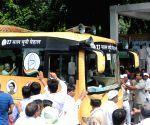 Sonia Gandhi, Rahul Gandhi flag off bus yatra