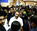 Rahul Gandhi visits State Bank of India's Parliament Street Branch