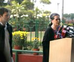 UPA Chairperson Sonia Gandhi and Congress Vice President Rahul Gandhi address media