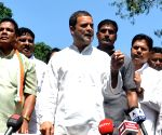 Rahul Gandhi talks to press