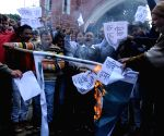 Congress protest against suicide attack on a CRPF bus
