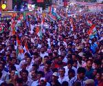 Rahul Gandhi during a Congress roadshow