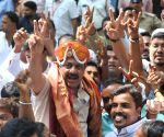 Karnataka Assembly elections - Congress' Zameer Ahmed Khan celebrates