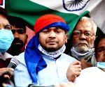 Kanhaiya Kumar during protest by Trade Unions amid nationwide trade union strike