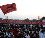 Buddhadeb Bhattacharjee during a leftist mass rally