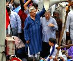 Demonstration against the controversial demolition of Ambedkar Bhavan - Kanhaiya Kumar, Sitaram Yechury