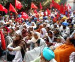 CPI-M workers protest to press for their various demands in front of Deputy Commissioner's Office