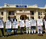 CPI-ML legislator stage protest for various issues at the Bihar Assembly in Patna on Monday 01st March, 2021