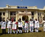 CPI-ML legislators stage protest at Bihar Assembly during on going budget session, in Patna