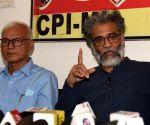 :Patna: CPI(ML) national Secretary Dipanker Bhattacharya addresses a press conference,