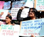 CPI- ML workers stage a demonstration to protest against Muzafarnagar gang-rape at Jantar Mantar