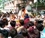 Begusarai (Bihar): Kanhaiya Kumar during a public rally