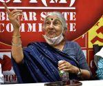 CPM leader Subhashini Ali addressing a press conference
