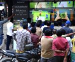 Cricket enthusiasts seen watching World Cup match