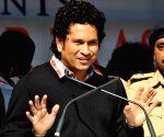 Sachin Tendulkar at the inauguration of swimming training institute