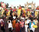 Dasara elephants arrive at Mysore Palace