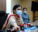DCP Monika address to media during Crime Branch arrest 10 persons  black - marketing of fake 'Injections' used as Life-Saving drugs in covid and black fungus treatment at PHQ in New Delhi