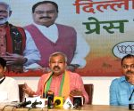 Delhi BJP President Adesh Gupta and others address a press conference on an important issue at BJP state office in New Delhi