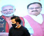 Delhi BJP President Adesh Gupta, LOP Ramvir Singh Bidhuri and MP Gautam Gambhir during a press conference on Water problem in New Delhi