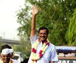 2019 Lok Sabha elections - Arvind Kejriwal during a roadshow
