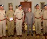 Delhi Fire Service officers call on President Mukherjee
