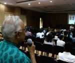 Delhi University officials conducting an open house discussion