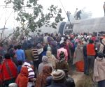 Seemanchal Express seen at the accident site at Bihar's Vaishali