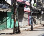 Deserted view of Chawri bazaar market during the Curfew day in new Delhi
