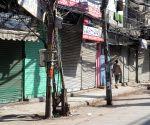Deserted view of Chawri bazaar market during the Curfew day in new Delhi