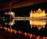 Amritsar: Fireworks at Golden Temple on the occasion of birth anniversary of Guru Angad Dev Ji, the second guru of Sikhs, in Amritsar